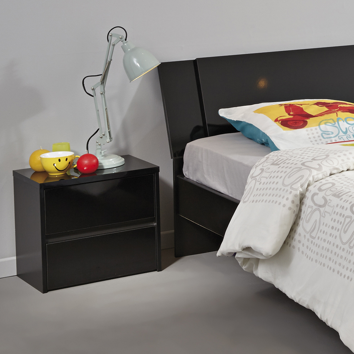 nachtkonsole ontario 19 nachttisch nachtkommode schwarz hochglanz 2 sk ebay. Black Bedroom Furniture Sets. Home Design Ideas