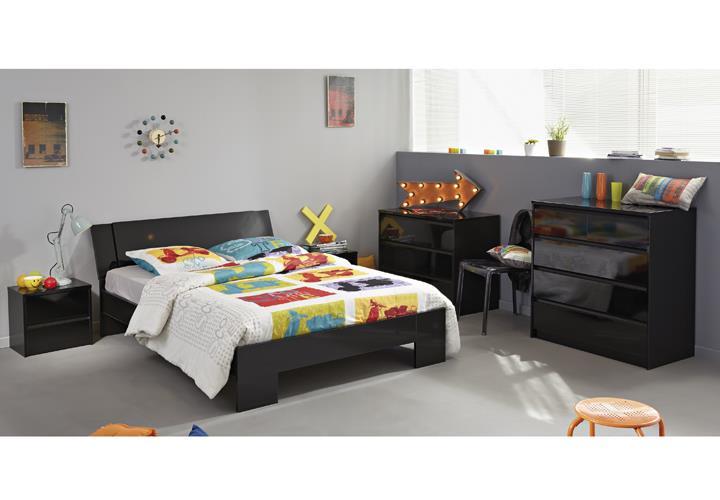 schlafzimmer set 5 tlg ontario 13 jugendzimmer bett 160x200cm schwarz hochglanz ebay. Black Bedroom Furniture Sets. Home Design Ideas