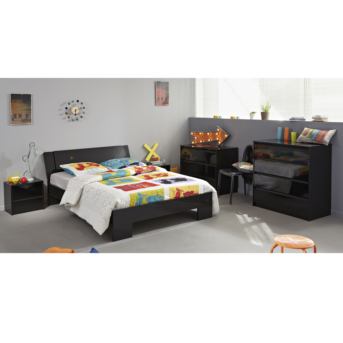 schlafzimmer set 5 tlg ontario 13 jugendzimmer bett 160x200cm schwarz hochglanz ebay. Black Bedroom Furniture Sets. Home Design Ideas
