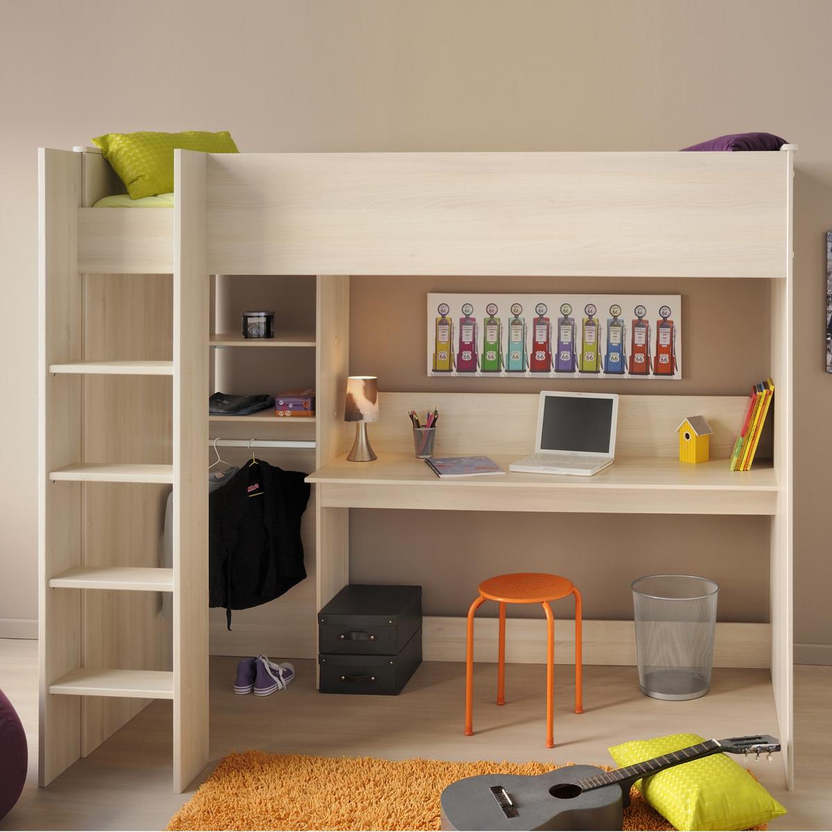 hochbett charly 3 etagenbett in akazie mit schreibtisch leiter und kleiderstange ebay. Black Bedroom Furniture Sets. Home Design Ideas