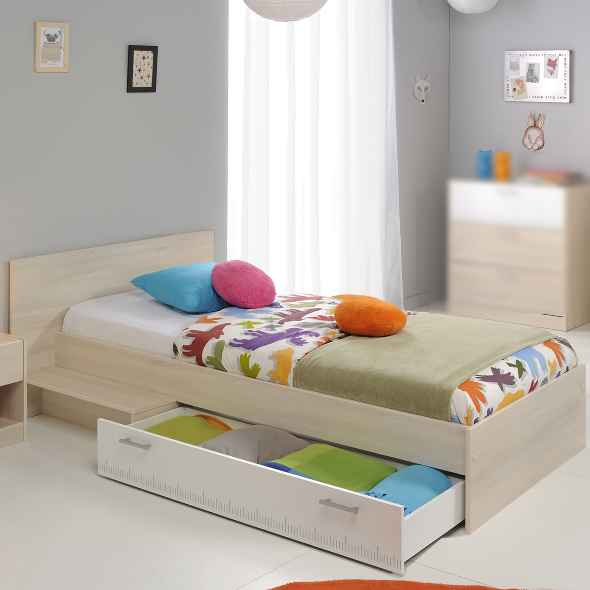bett charly kinderbett stauraumbett jugendbett in akazie und wei 90x200 cm ebay. Black Bedroom Furniture Sets. Home Design Ideas