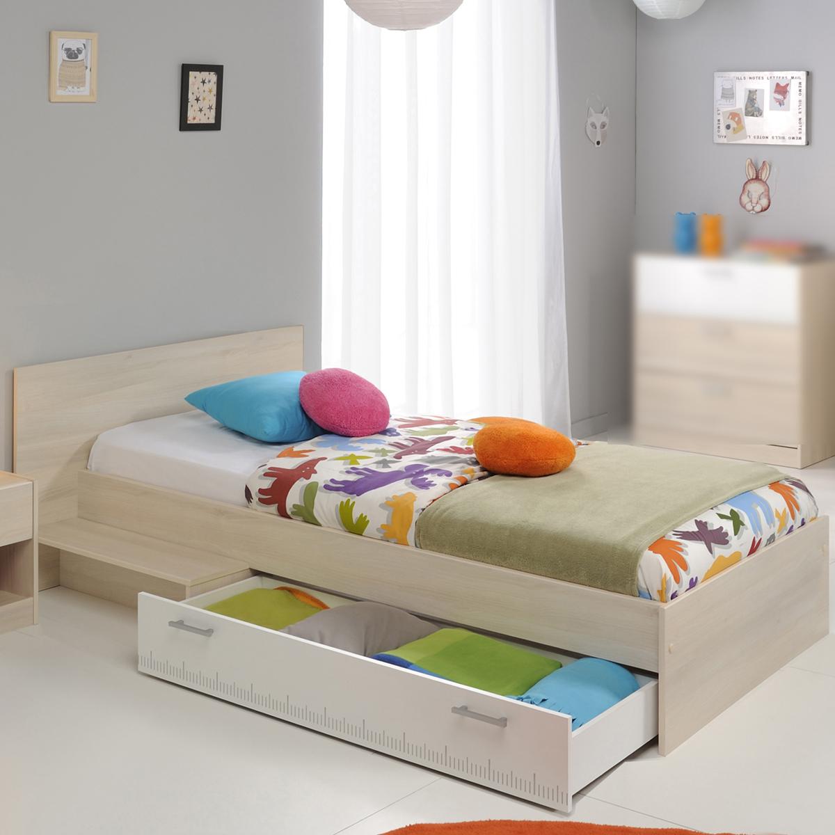 bett charly kinderbett stauraumbett jugendbett in akazie und wei 90x200 cm ebay. Black Bedroom Furniture Sets. Home Design Ideas