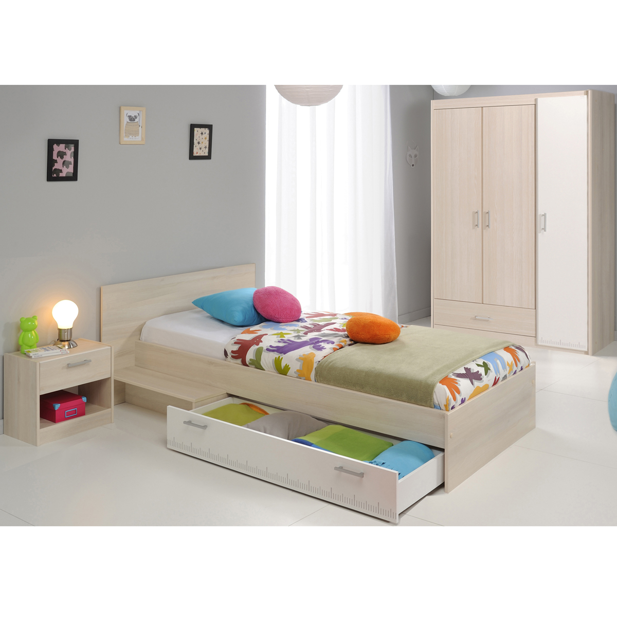 jugendzimmer charly 14 3 teilig kinderzimmer nako bett schrank akazie wei. Black Bedroom Furniture Sets. Home Design Ideas