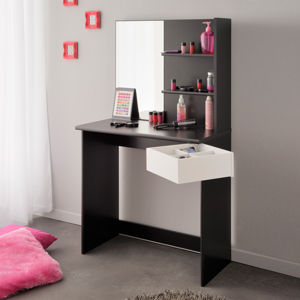 schminktisch pimpante frisierkommode kosmetiktisch in schwarz und wei ebay. Black Bedroom Furniture Sets. Home Design Ideas