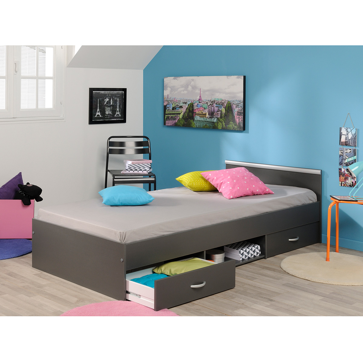bett mega stauraumbett schlafzimmerbett kinderzimmerbett buche wei grau braun ebay. Black Bedroom Furniture Sets. Home Design Ideas