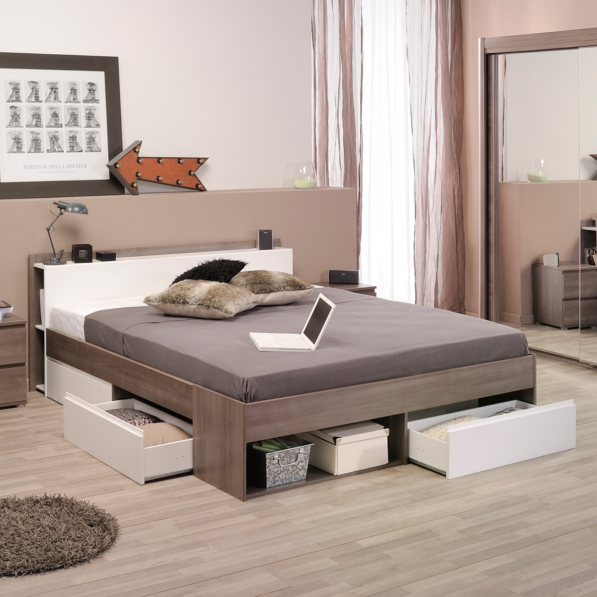 bett most jugendbett einzelliege eiche silber kaffee braun akazie und wei 140 ebay. Black Bedroom Furniture Sets. Home Design Ideas