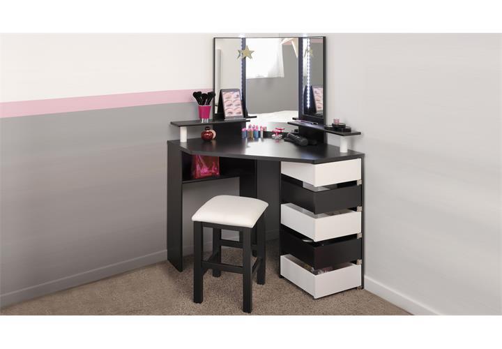 eck schminktisch mit hocker volage schwarz wei frisiertisch mit led beleuchtung ebay. Black Bedroom Furniture Sets. Home Design Ideas