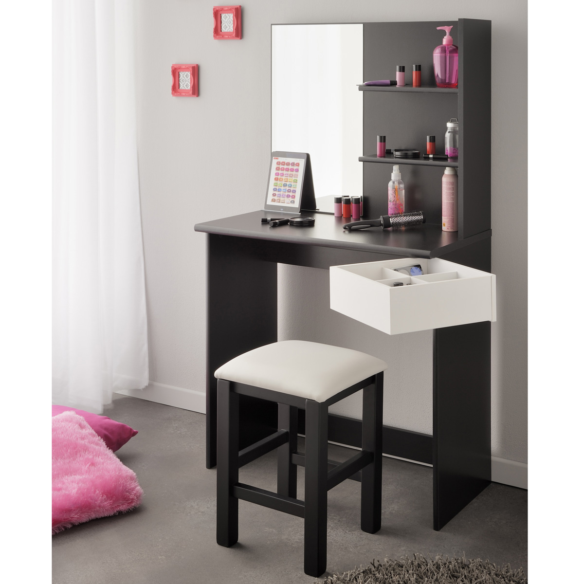 schminktisch pimpante mit hocker schwarz wei frisiertisch kosmetiktisch spiegel. Black Bedroom Furniture Sets. Home Design Ideas