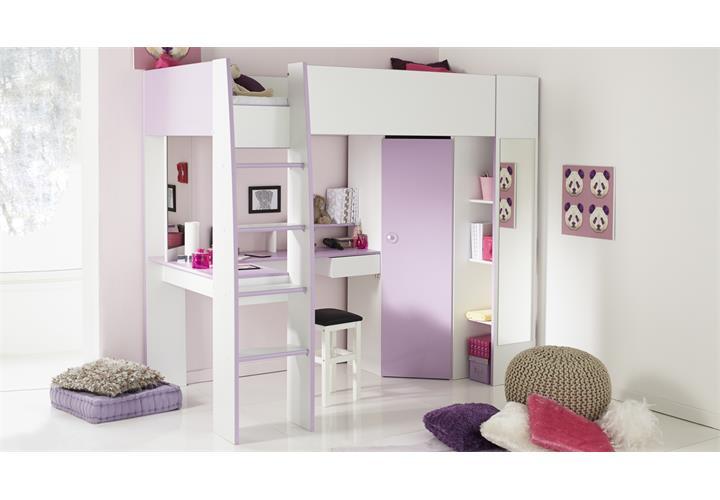 hochbett milas wei lila mit kleiderschrank schreibtisch. Black Bedroom Furniture Sets. Home Design Ideas