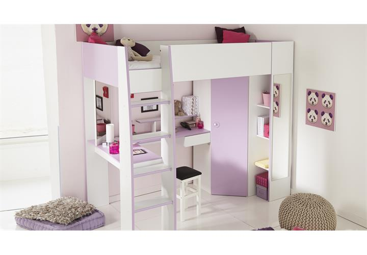 hochbett milas wei lila mit kleiderschrank schreibtisch kinderbett etagenbett ebay. Black Bedroom Furniture Sets. Home Design Ideas