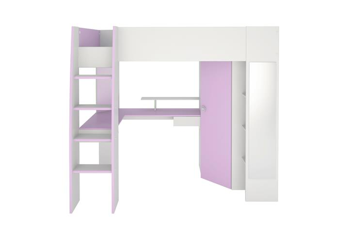hochbett milas wei lila mit kleiderschrank schreibtisch kinderbett etagenbett eur 539 05. Black Bedroom Furniture Sets. Home Design Ideas