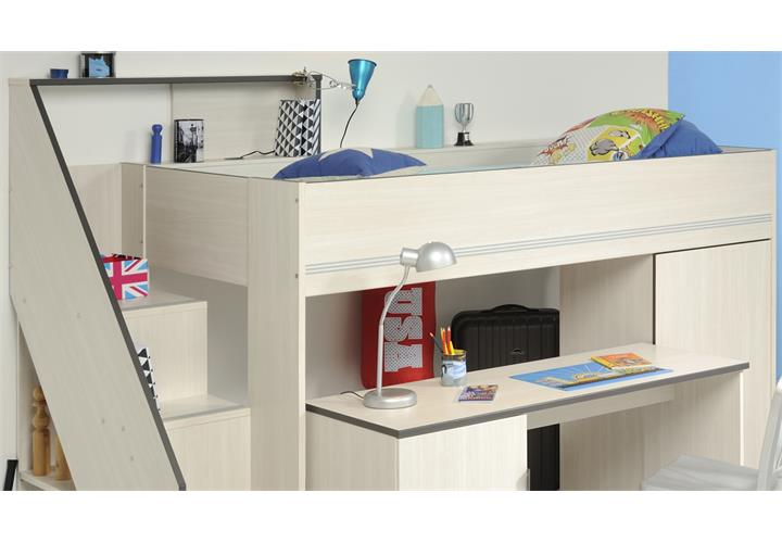 hochbett gravity 1 in esche struktur mit schreibtisch kinderbett etagenbett ebay. Black Bedroom Furniture Sets. Home Design Ideas