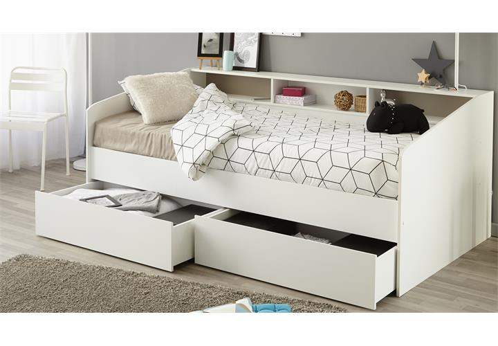 stauraumbett sleep 1 einzelbett bett in wei mit ablage bettschubkasten 90x200 eur 229 05. Black Bedroom Furniture Sets. Home Design Ideas