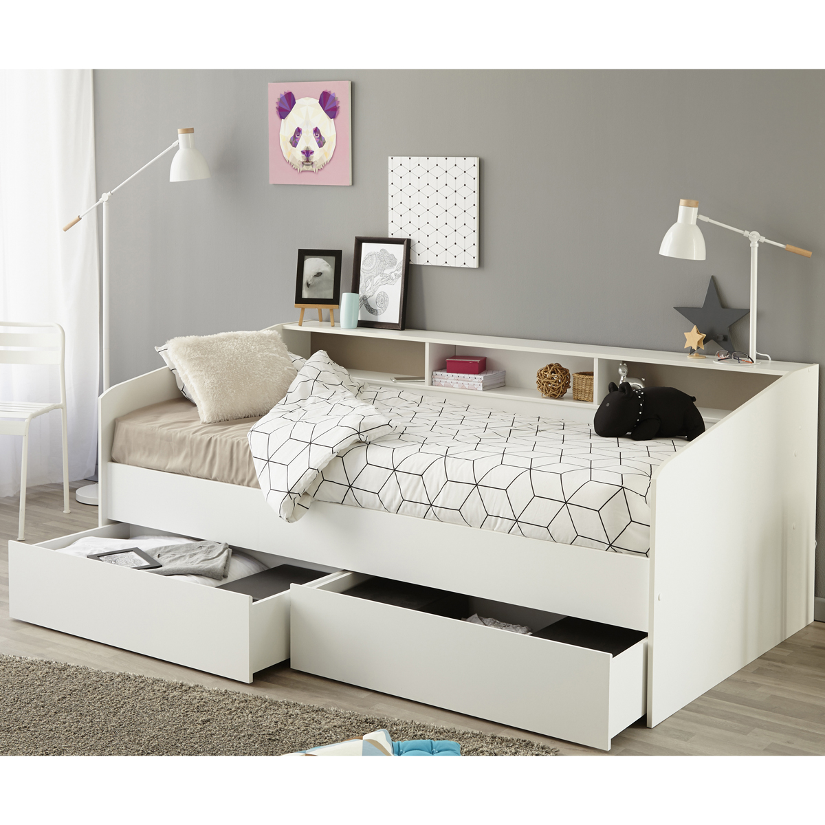 einzelbett bett in wei mit ablage bettschubkasten 90x200 ebay. Black Bedroom Furniture Sets. Home Design Ideas