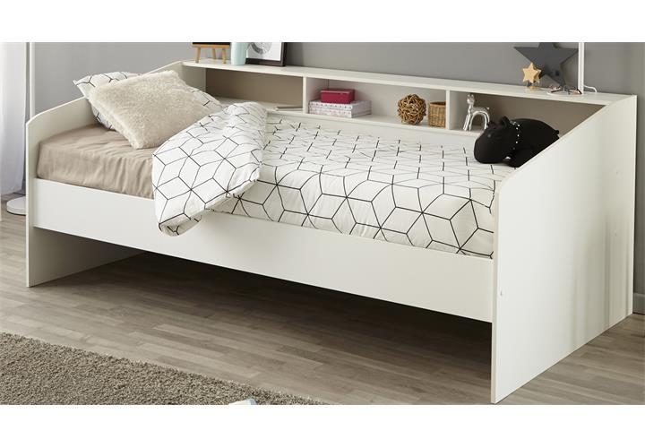 stauraumbett sleep 2 einzelbett 90x200 bett in wei mit ablage. Black Bedroom Furniture Sets. Home Design Ideas