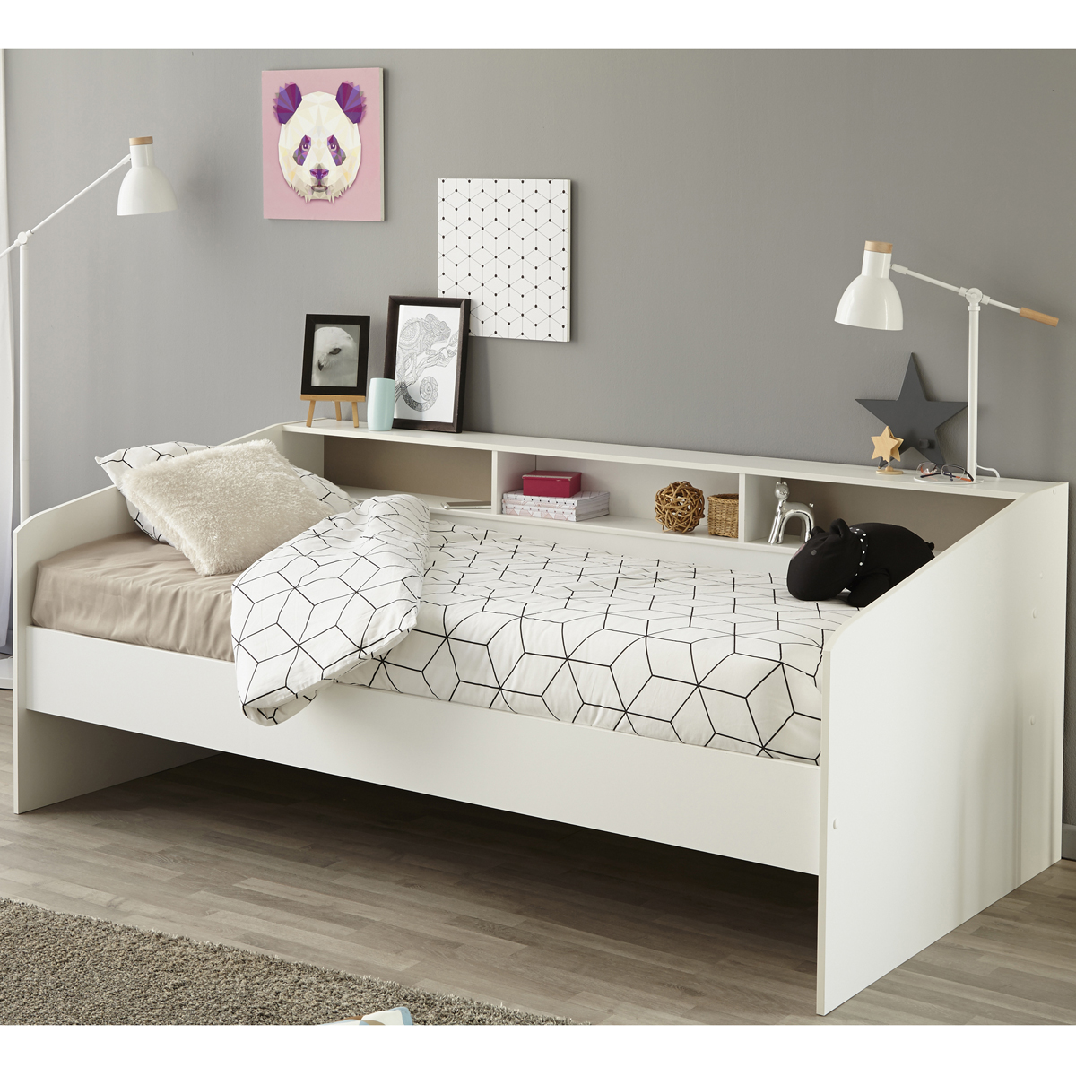 stauraumbett sleep 2 einzelbett 90x200 bett in wei mit ablage eur 169 05 picclick de. Black Bedroom Furniture Sets. Home Design Ideas