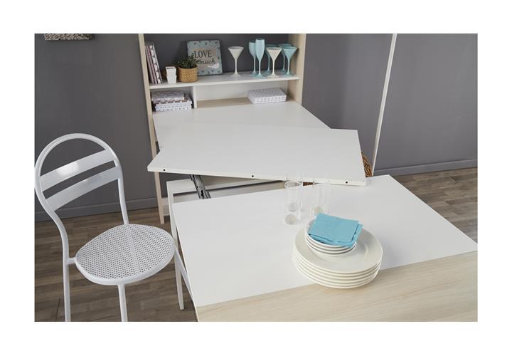 funktionsregal schuffle wei akazie regal mit ausziehbarer tischplatte esstisch ebay. Black Bedroom Furniture Sets. Home Design Ideas