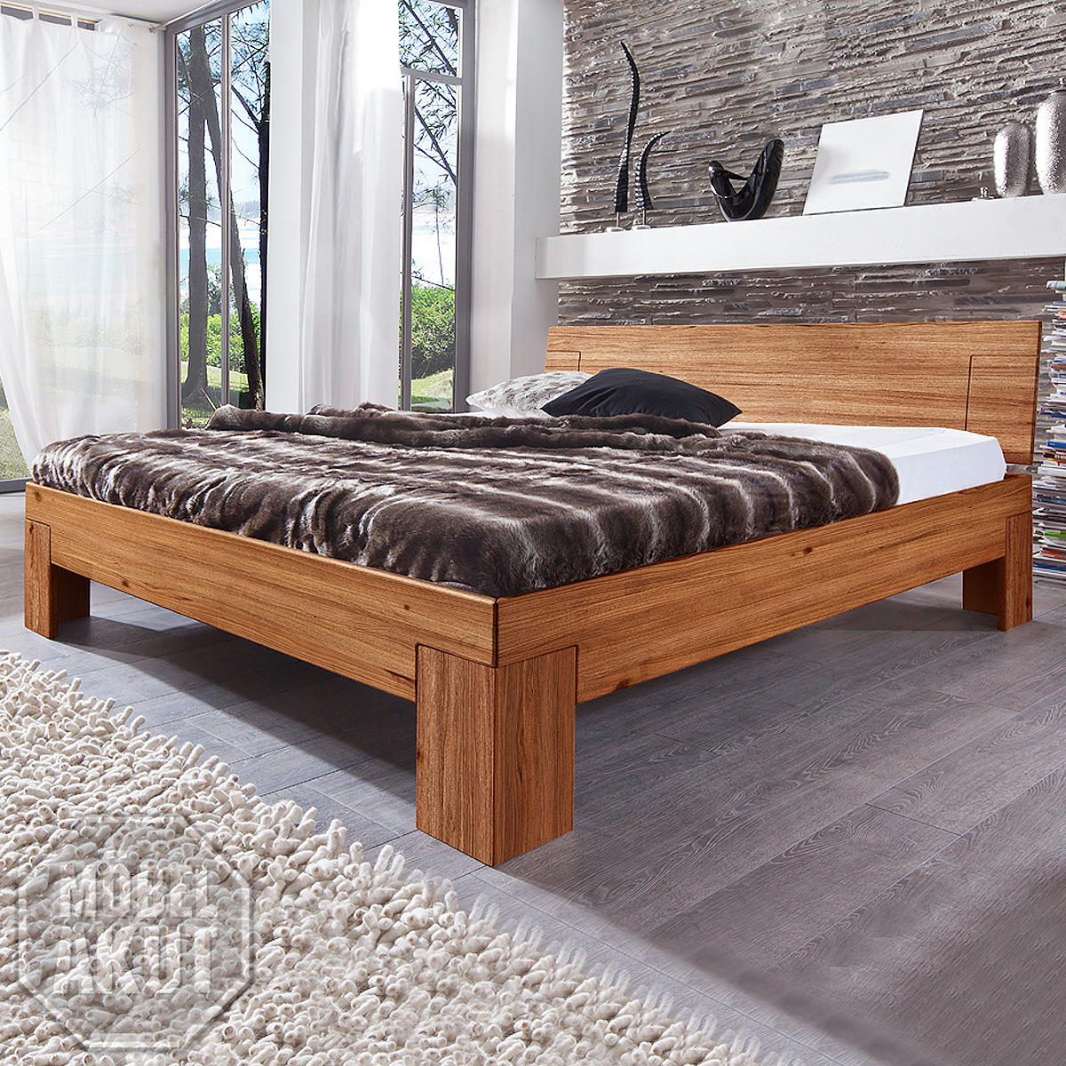 bett sara futonbett bettgestell in wild eiche massiv natur ge lt 90x200 cm ebay. Black Bedroom Furniture Sets. Home Design Ideas