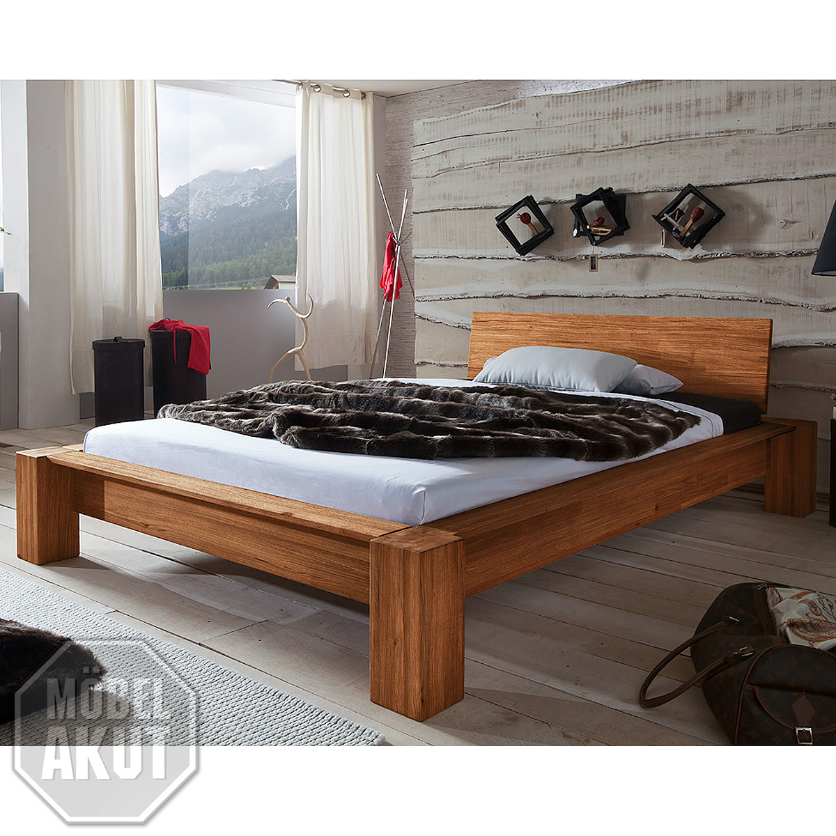 bett lena futonbett bettgestell in wild eiche massiv natur ge lt 180x200 cm ebay. Black Bedroom Furniture Sets. Home Design Ideas