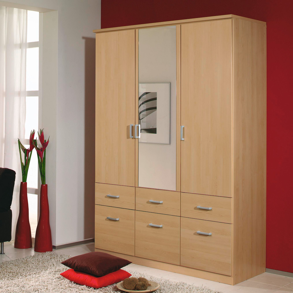kleiderschrank bremen schrank w scheschrank in buche hell mit spiegel 136 cm ebay. Black Bedroom Furniture Sets. Home Design Ideas