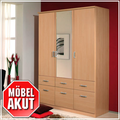 kleiderschrank power schrank in buche hell 136 cm ebay. Black Bedroom Furniture Sets. Home Design Ideas