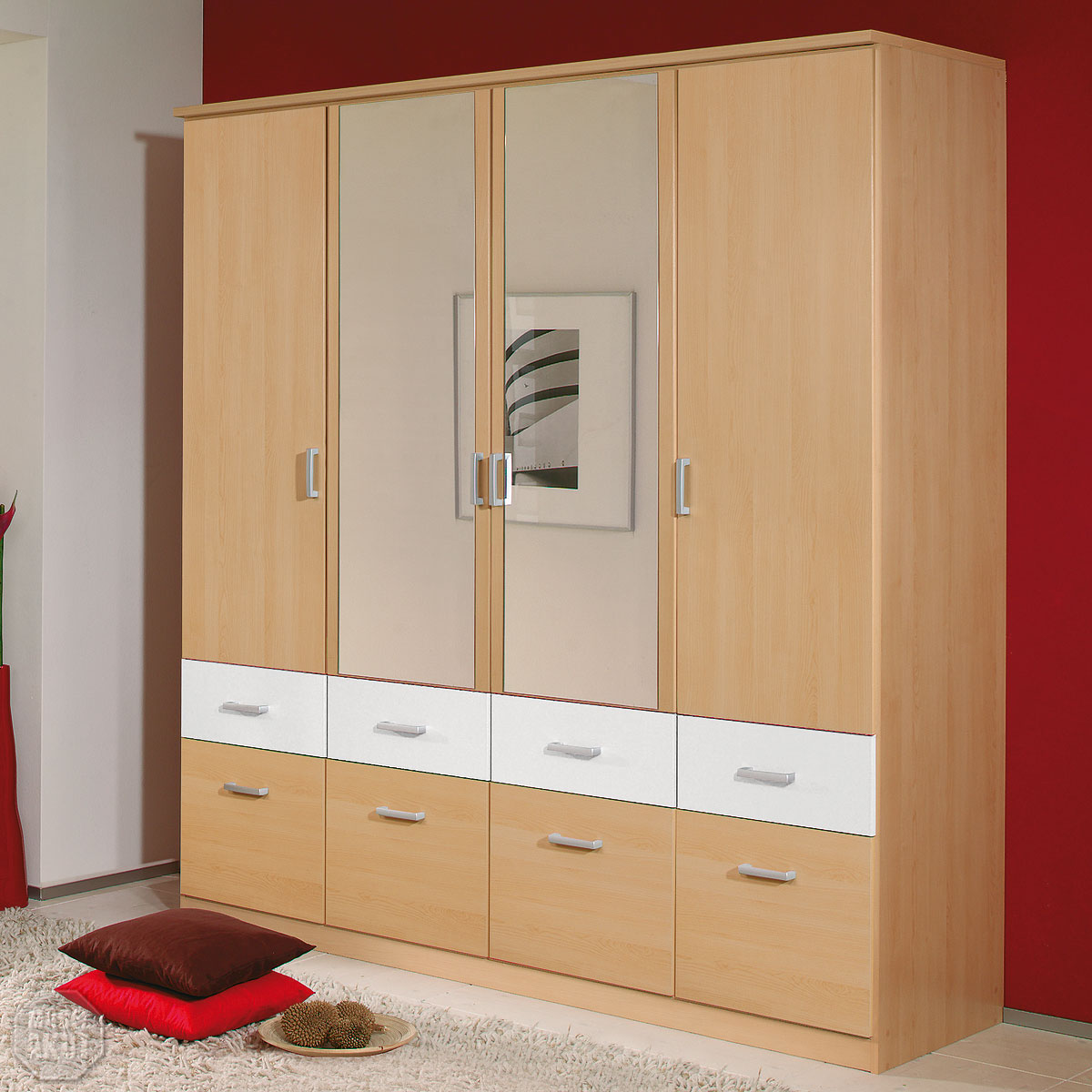 kleiderschrank bremen schrank w scheschrank in berg ahorn wei spiegel 181 cm ebay. Black Bedroom Furniture Sets. Home Design Ideas