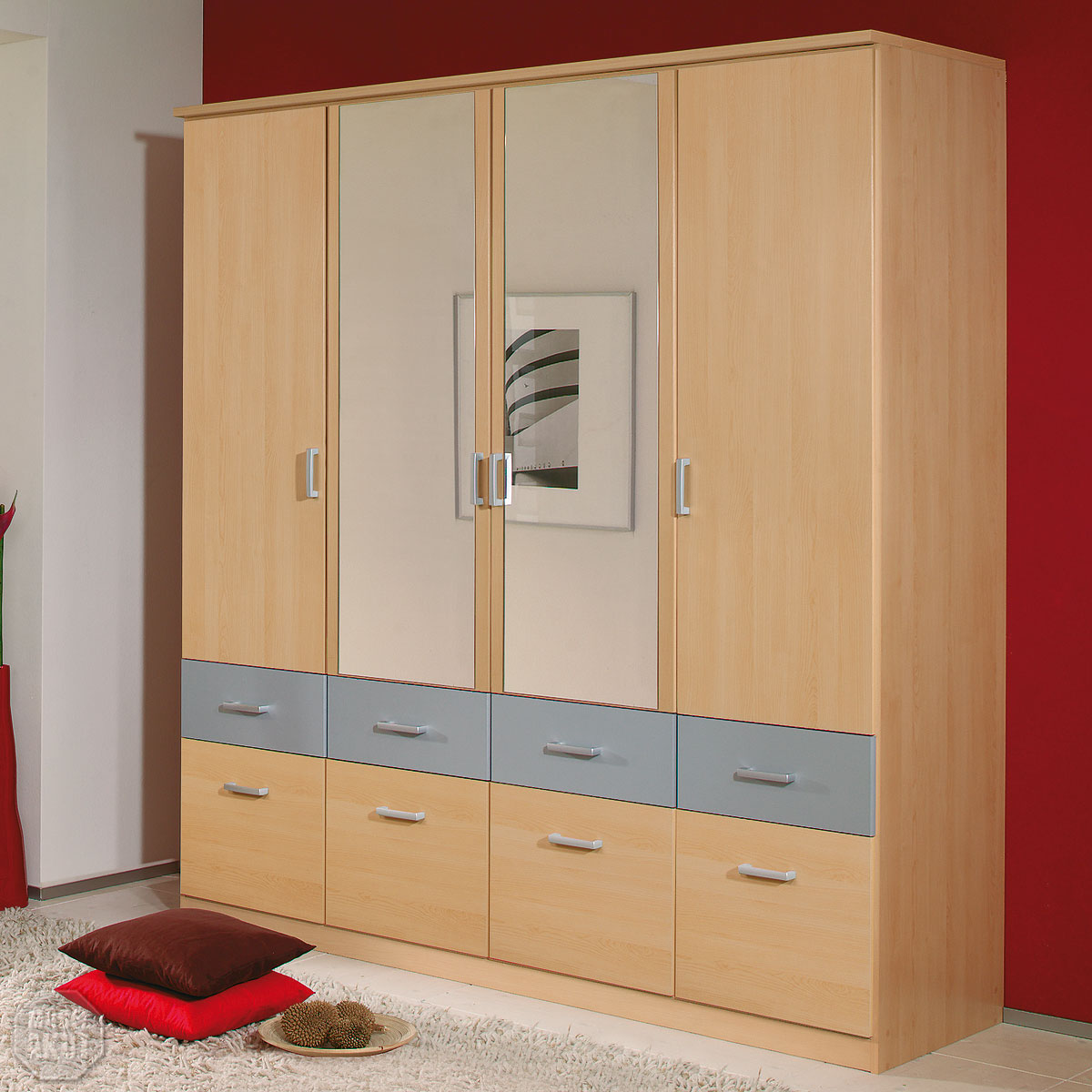 kleiderschrank bremen schrank w scheschrank in berg ahorn alu spiegel 181 cm ebay. Black Bedroom Furniture Sets. Home Design Ideas