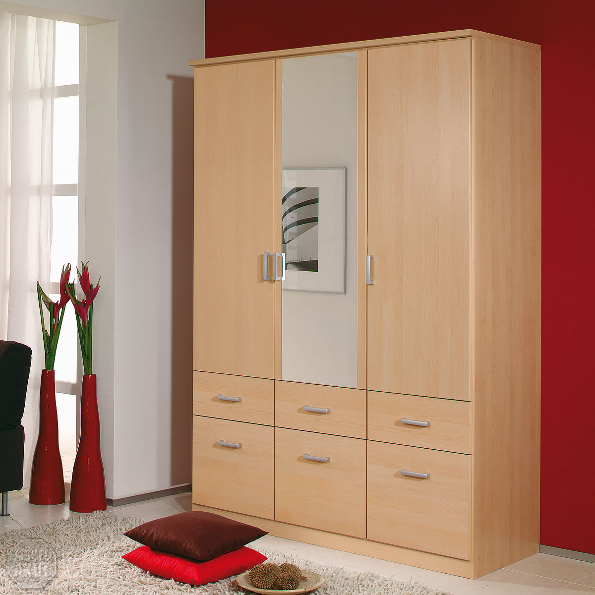 kleiderschrank bremen schrank w scheschrank in berg ahorn mit spiegel 136 cm ebay. Black Bedroom Furniture Sets. Home Design Ideas