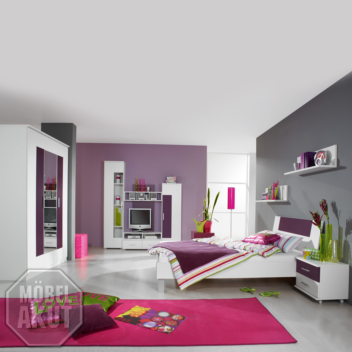 jugendzimmer fortuna kinderzimmer in wei brombeer ebay. Black Bedroom Furniture Sets. Home Design Ideas