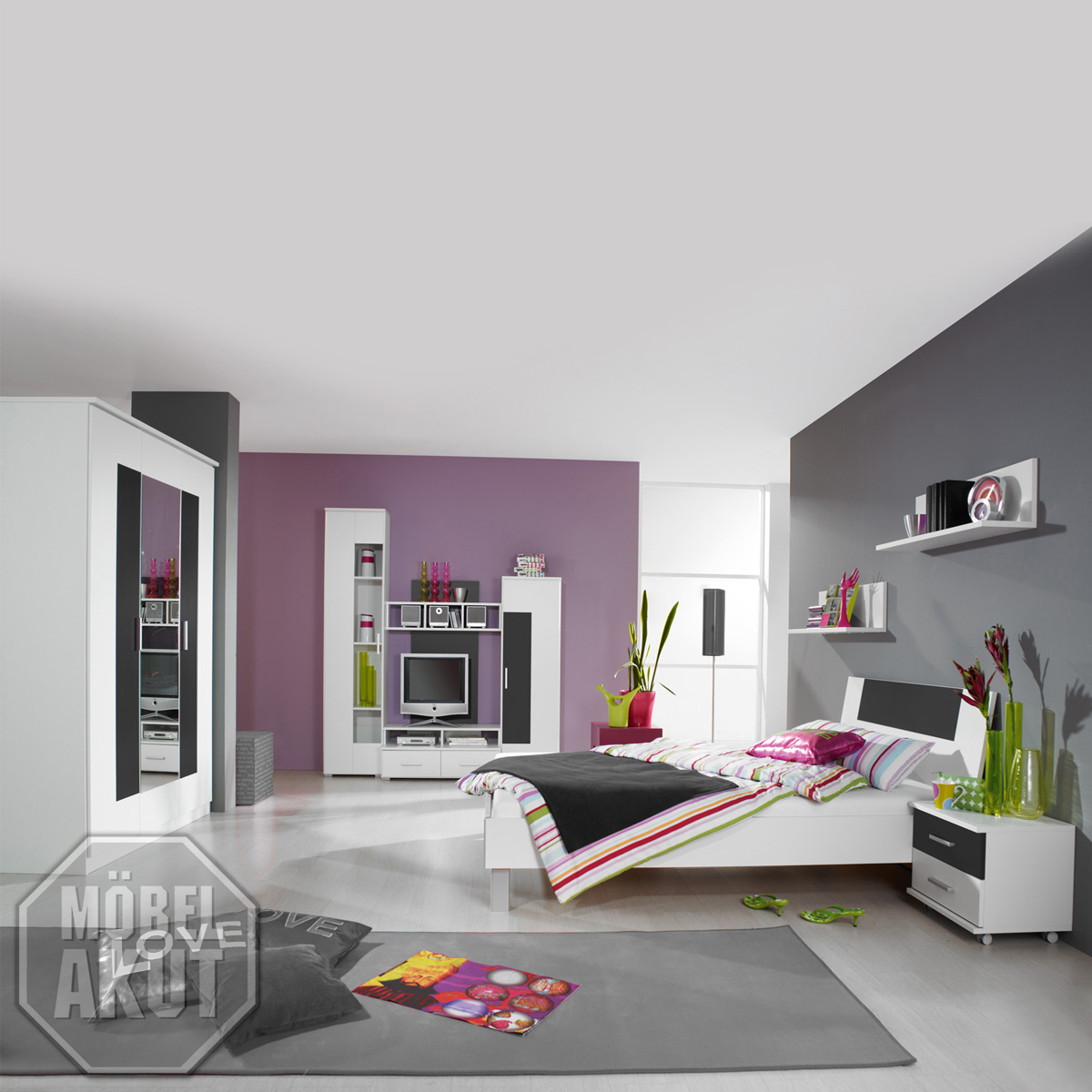 jugendzimmer fortuna kinderzimmer wei grau metallic. Black Bedroom Furniture Sets. Home Design Ideas