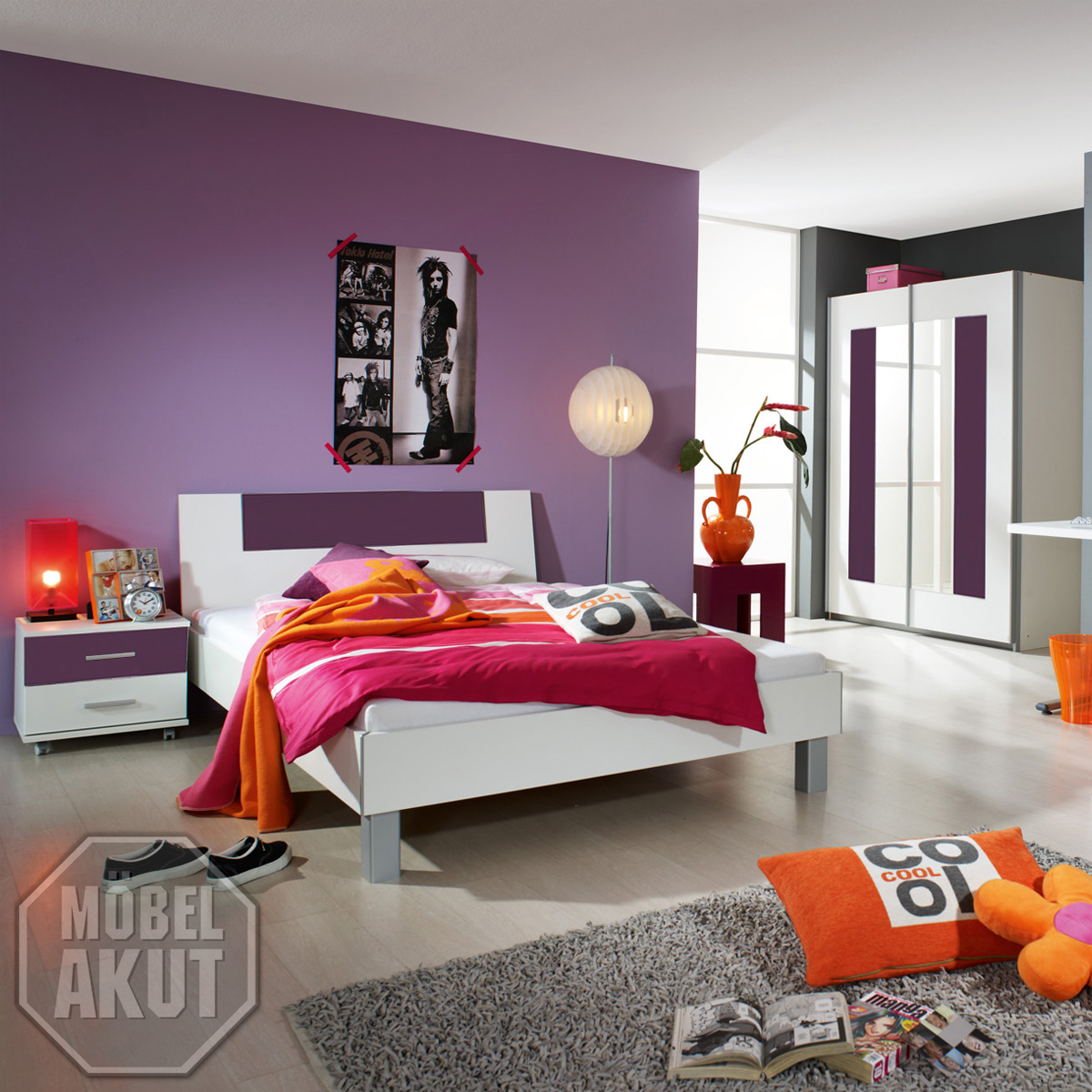 jugendzimmer fortuna kinderzimmer wei brombeer ebay. Black Bedroom Furniture Sets. Home Design Ideas