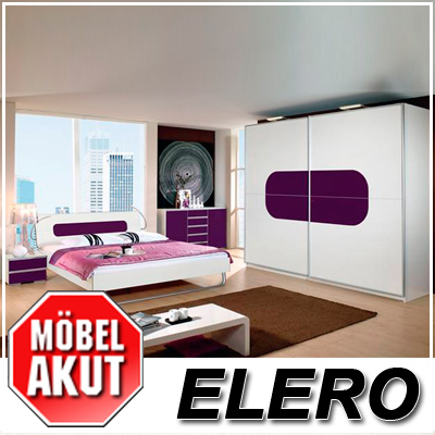 schlafzimmer set elero in wei lila glas neu ebay. Black Bedroom Furniture Sets. Home Design Ideas