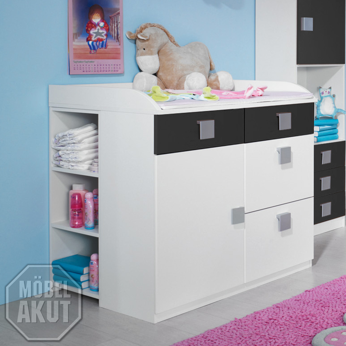 wickelkommode skate kommode mit aufsatz in weiss und grau ebay. Black Bedroom Furniture Sets. Home Design Ideas