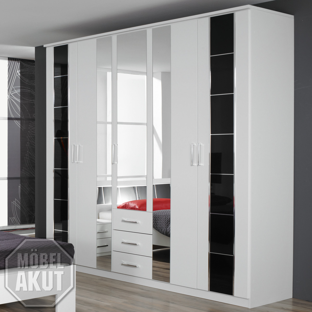 kleiderschrank aarau weiss schwarz hochglanz b 226. Black Bedroom Furniture Sets. Home Design Ideas