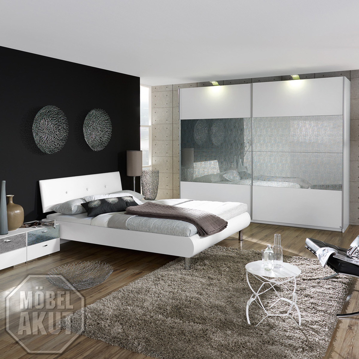 schlafzimmer set calua in wei glas swarovski ebay. Black Bedroom Furniture Sets. Home Design Ideas