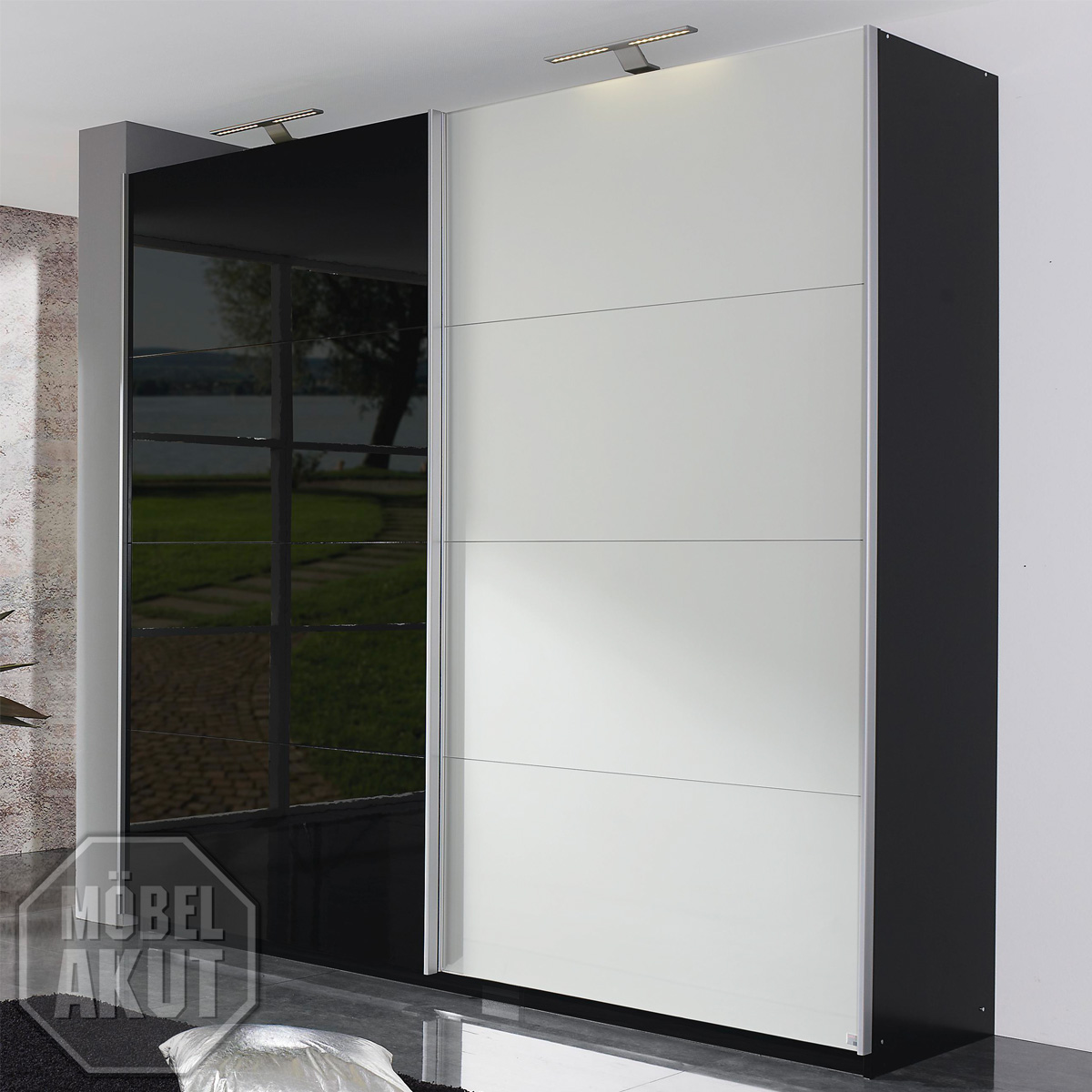 schwebet renschrank beluga kleiderschrank in schwarz. Black Bedroom Furniture Sets. Home Design Ideas