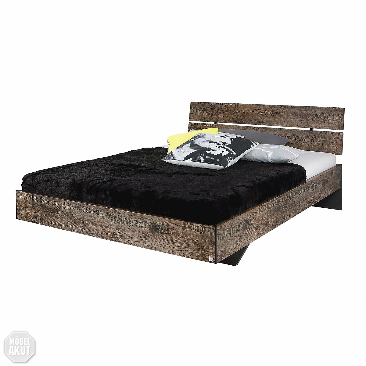 bett sumatra doppelbett schlafzimmerbett in schwarz braun vintage look 140 ebay. Black Bedroom Furniture Sets. Home Design Ideas