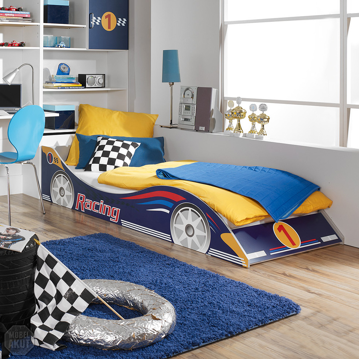 kinderbett racing autobett bett f r kinderzimmer in blau. Black Bedroom Furniture Sets. Home Design Ideas