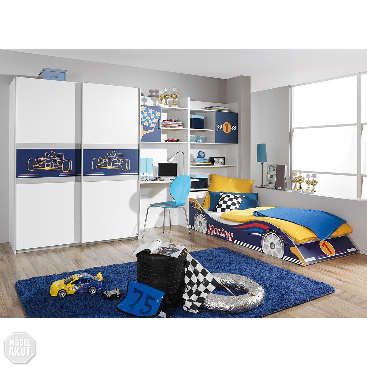4 tlg kinderzimmer set racing jugendzimmer schrank bett in wei blau neu ebay. Black Bedroom Furniture Sets. Home Design Ideas
