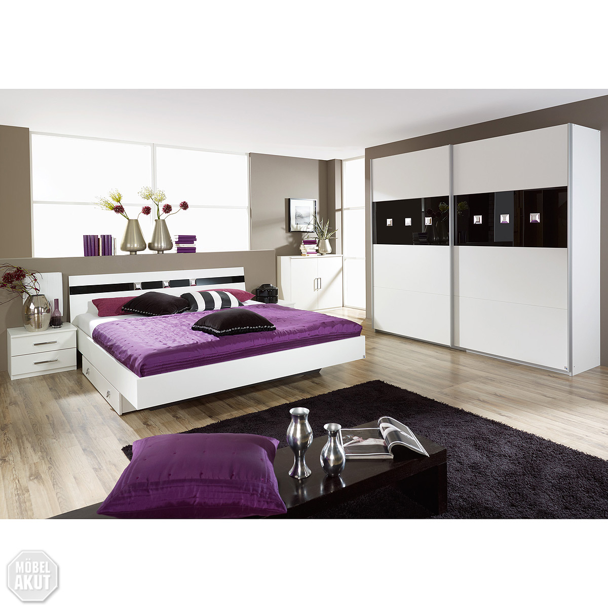 schlafzimmer set tours bett nachtkommode schrank wei schwarz glas strass ebay. Black Bedroom Furniture Sets. Home Design Ideas