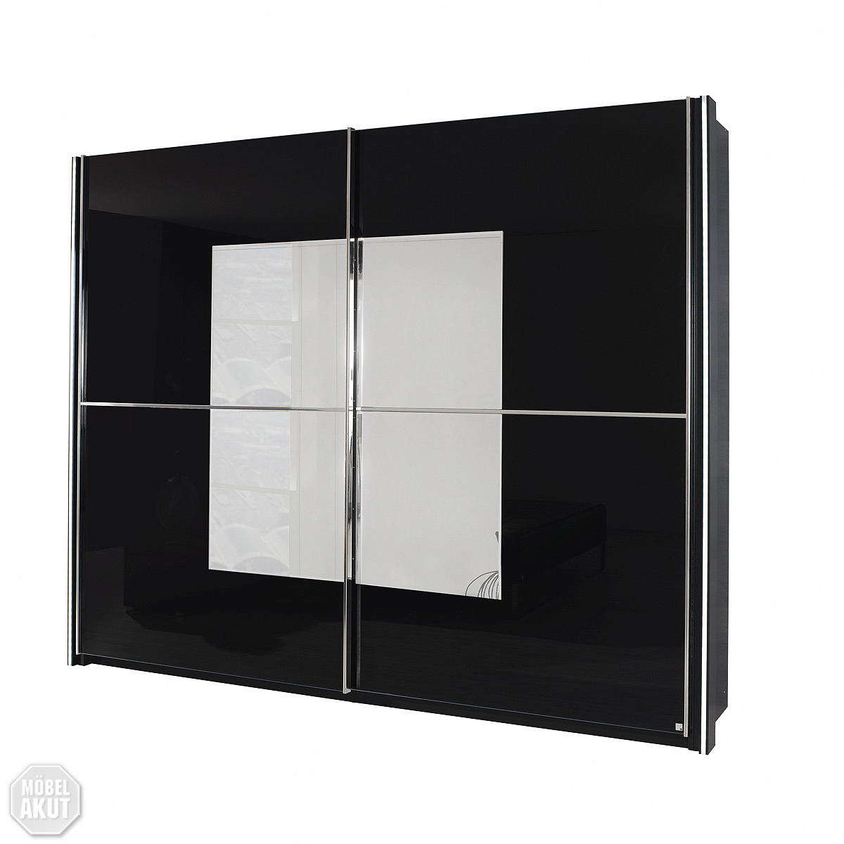 schwebet renschrank nala kleiderschrank schrank schwarz glas spiegel 270 cm ebay. Black Bedroom Furniture Sets. Home Design Ideas