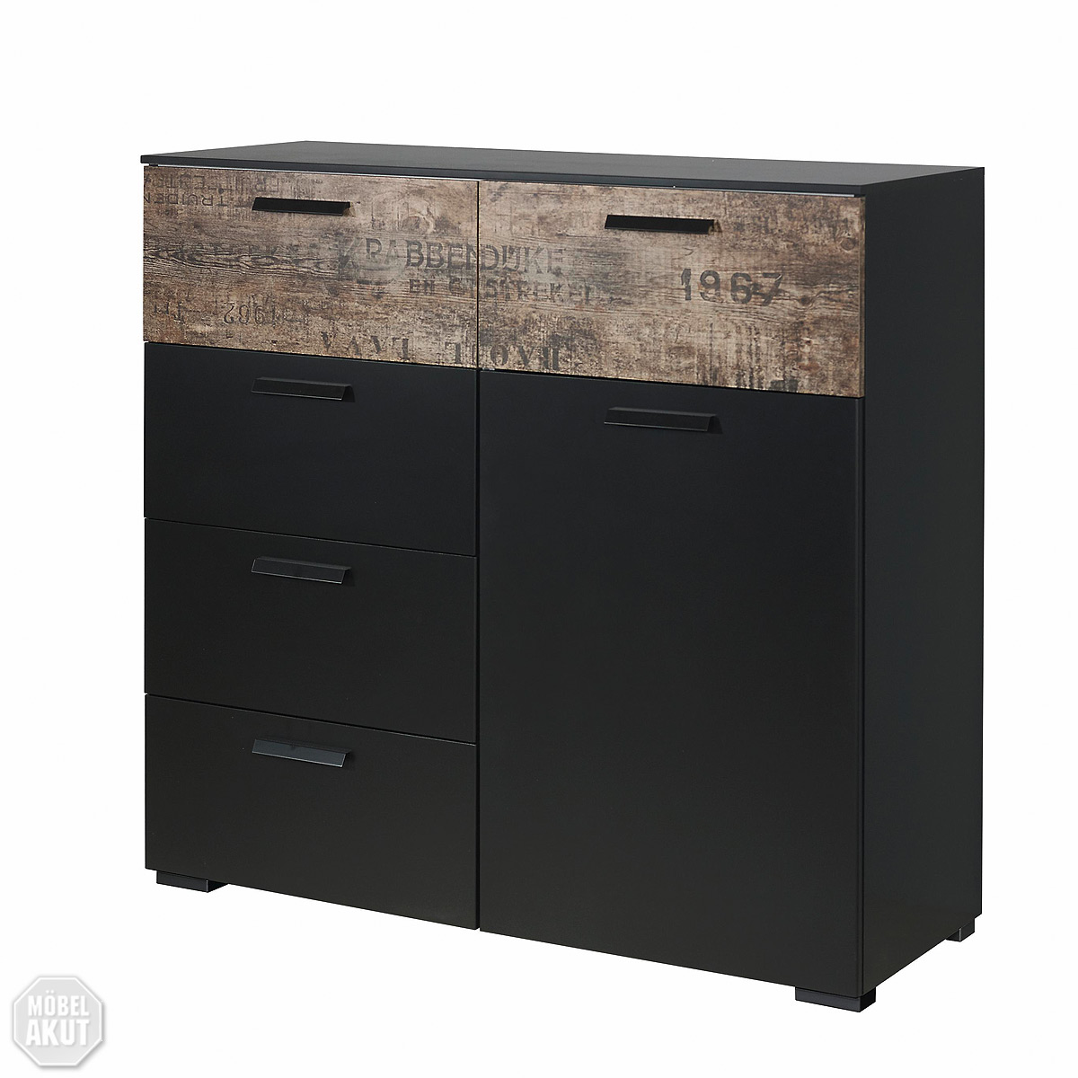 kommode sumatra sideboard kombikommode in schwarz braun vintage look neu ebay. Black Bedroom Furniture Sets. Home Design Ideas
