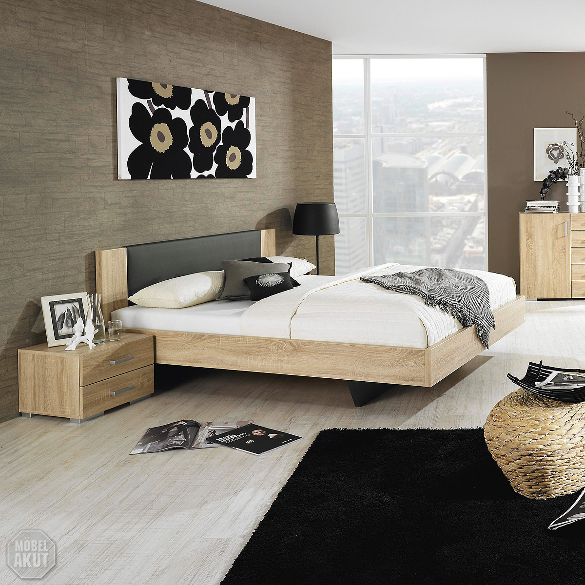 bett sonea doppelbett schlafzimmer bett in sonoma eiche s gerau anthrazit 160 ebay. Black Bedroom Furniture Sets. Home Design Ideas