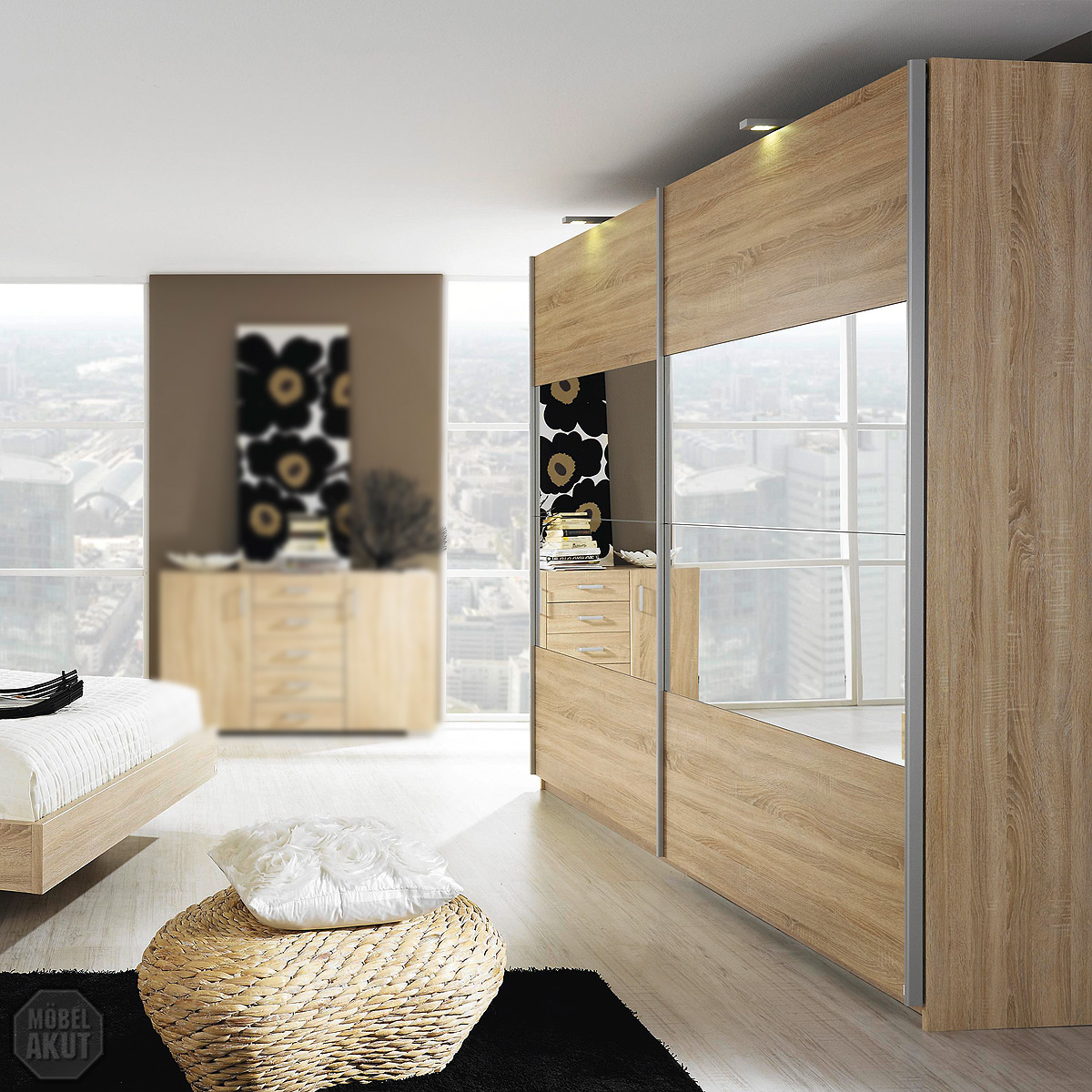 schwebet renschrank sonea schrank kleiderschrank sonoma eiche s gerau spiegel ebay. Black Bedroom Furniture Sets. Home Design Ideas