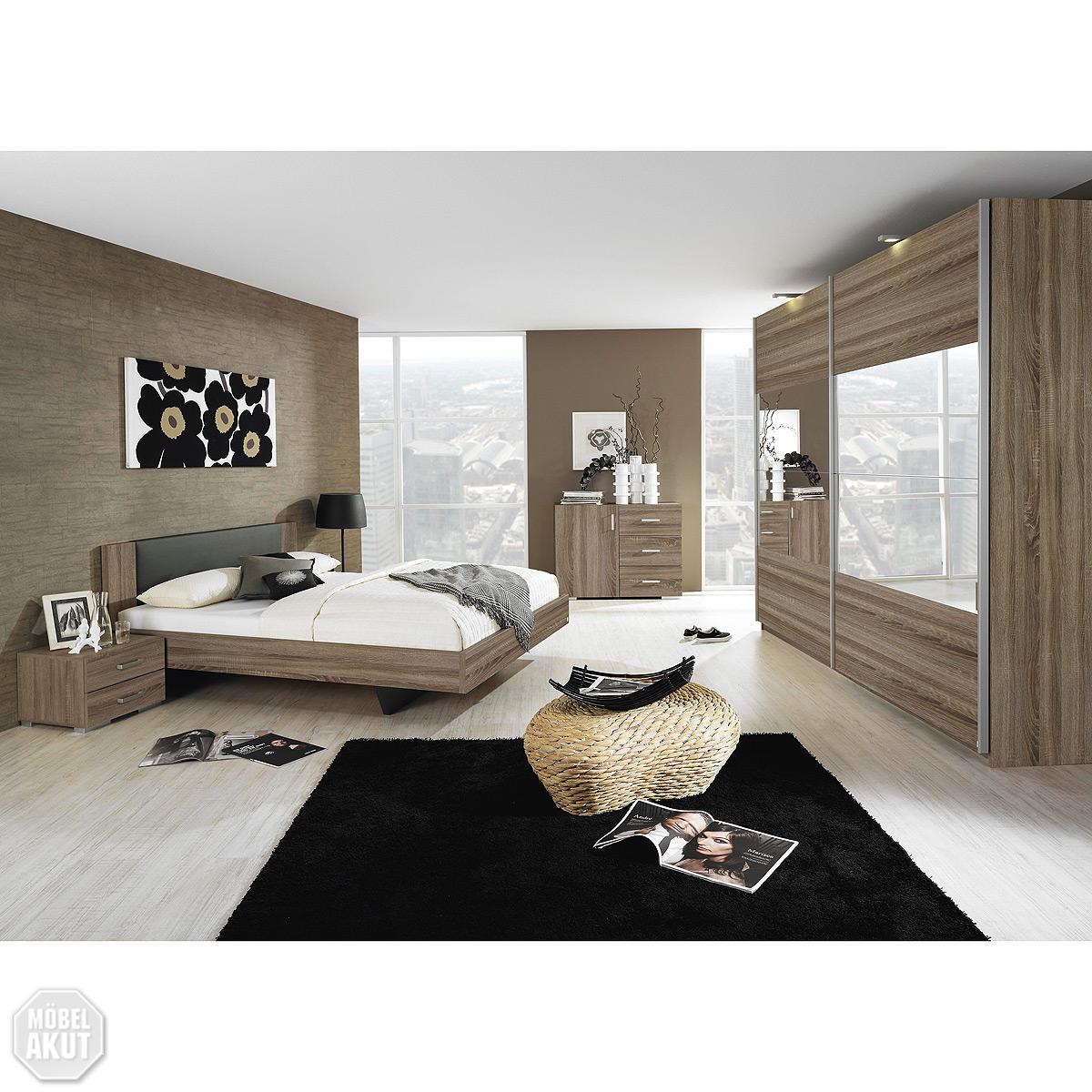 schlafzimmer set sonea bett schrank kommode eiche havanna anthrazit ebay. Black Bedroom Furniture Sets. Home Design Ideas