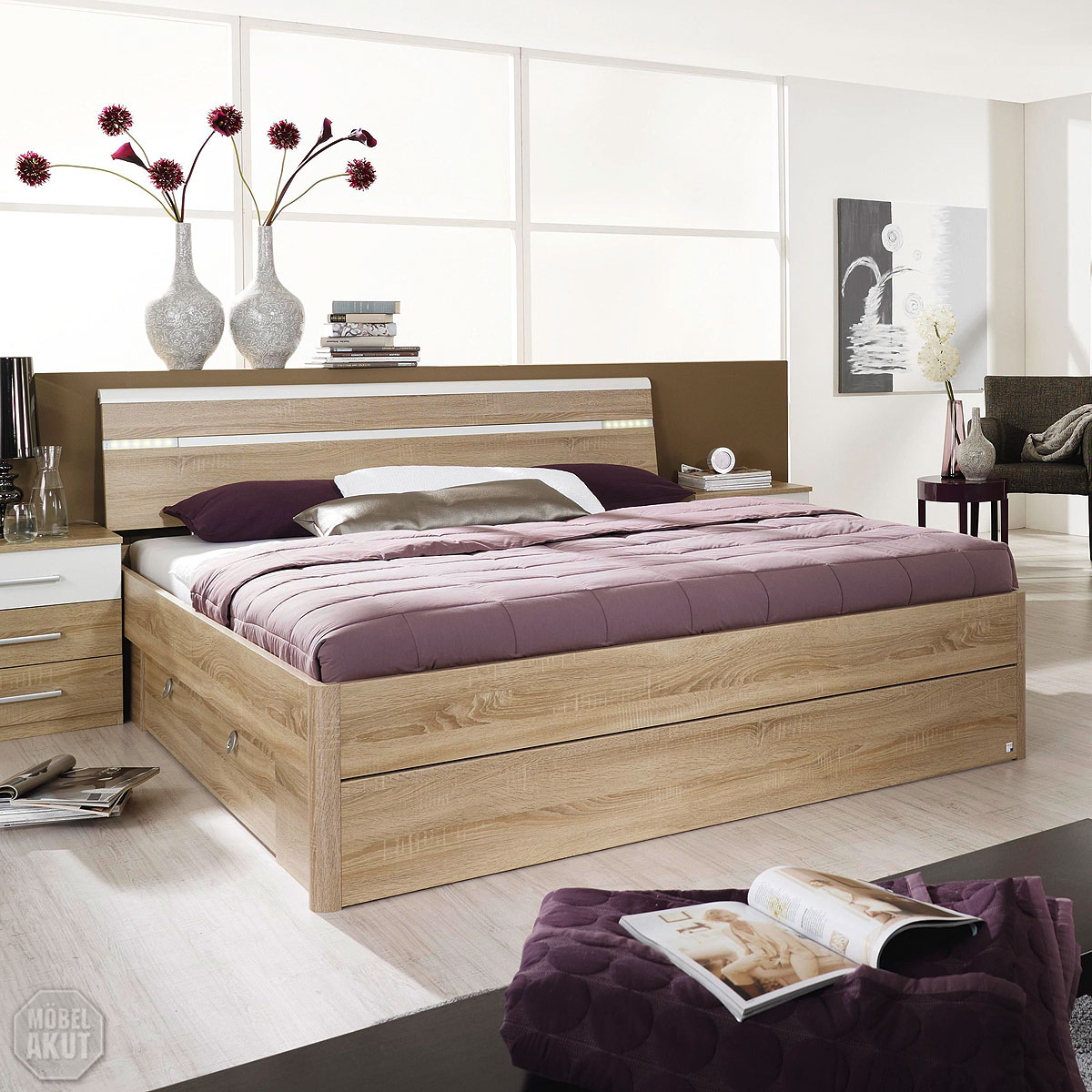 bett rasa kompaktbett in sonoma eiche s gerau wei inkl beleuchtung 180x200 ebay. Black Bedroom Furniture Sets. Home Design Ideas