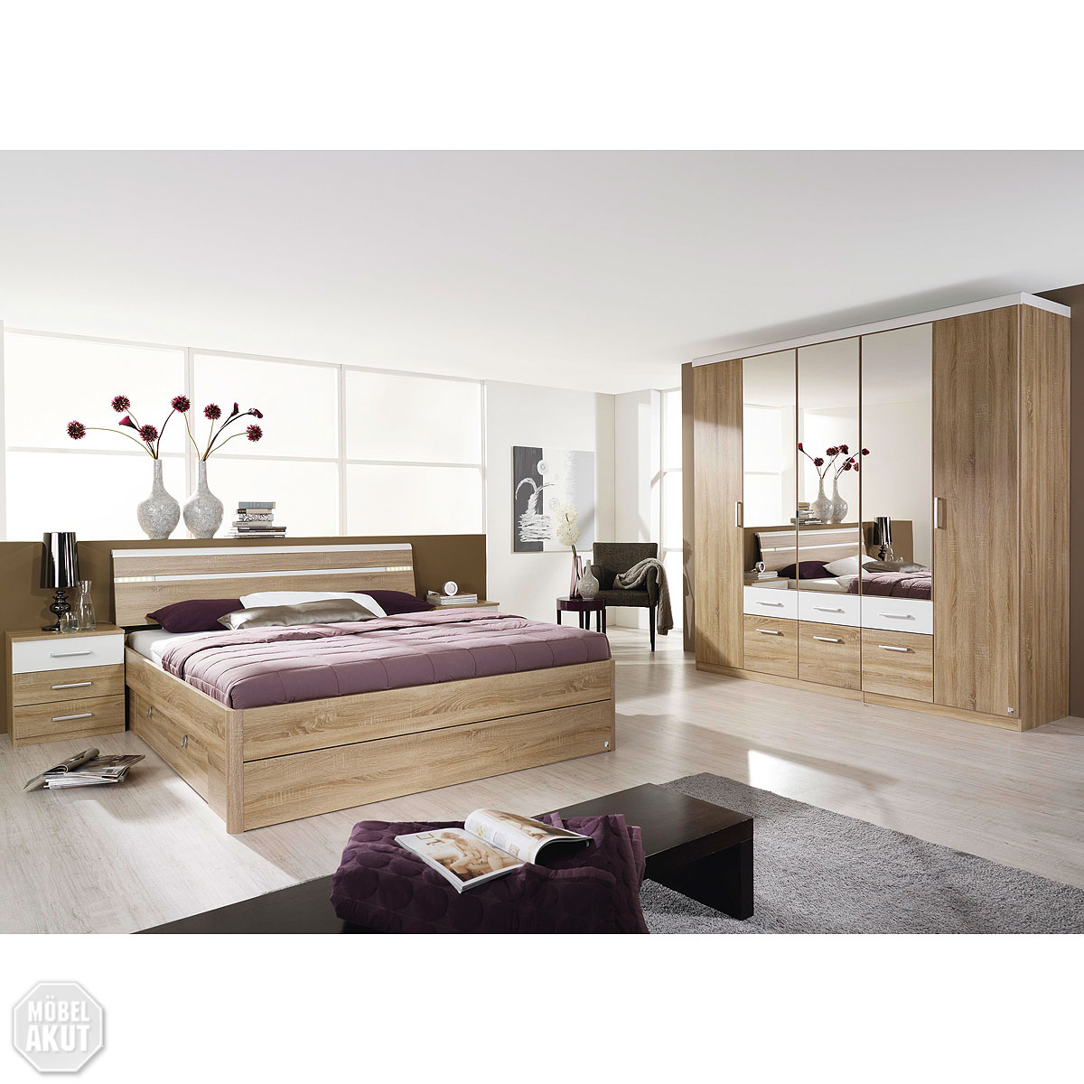schlafzimmer set rasa bett schrank nako sonoma eiche s gerau wei spiegel neu ebay. Black Bedroom Furniture Sets. Home Design Ideas