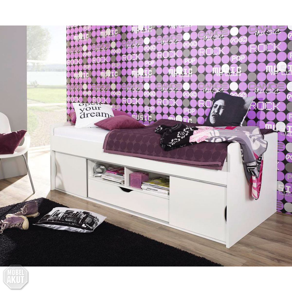 bett point funktionsbett kinderbett jugendzimmerbett in wei 90x200 ebay. Black Bedroom Furniture Sets. Home Design Ideas