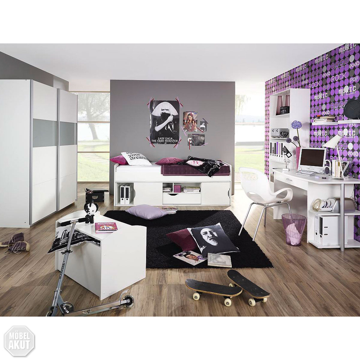jugendzimmer set point kinderzimmer bett schrank. Black Bedroom Furniture Sets. Home Design Ideas
