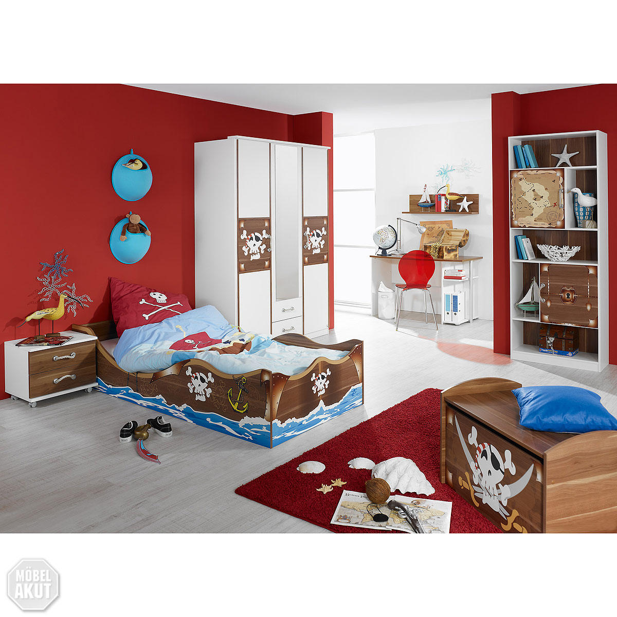kinderzimmer set iv drake bett schrank schreibtisch regal. Black Bedroom Furniture Sets. Home Design Ideas